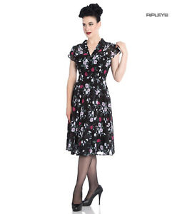 Hell Bunny 40s 50s Elegant Pin Up Dress BELLEVILLE Roses Chiffon XS 8 and S 10