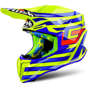 Casque Cross Airoh Twist Cairoli Quatar Jaune Bleu Orange