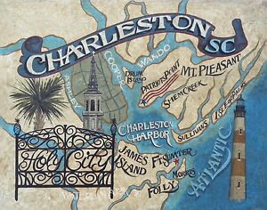 Charleston SC Map style Print vintage style art south carolina lighthouse on