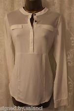 Karen Millen Jersey Drape Long Sleeve Sheer Panel White Top Shirt 14 42