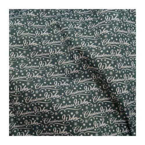 Green Christmas Wishes Polycotton 112cm Wide Sold Per Mtr @ £2.64
