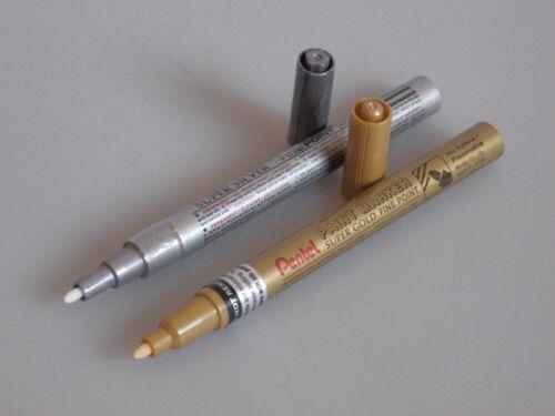 Pentel Marker ab 2 Stk Lackmarker Gold Silber 0,6//1,0mm MFP10 MSP10 Dekoration