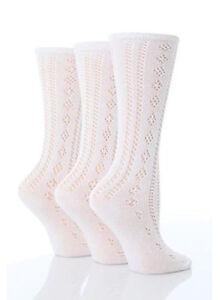 Girls Kids School Ankle High White Pelerine Open Work Socks Pack of 3  3-4 Years