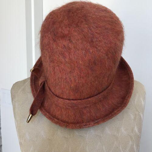 Vintage Clover Lane Womens Hat Orange Wool Brim