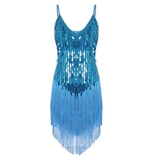 #M-4XL Women Latin Dance Dress Ballroom Salsa Tango Cha Cha 1920s Gatsby Dresses