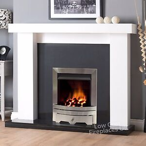 image is loading gas white surround black granite silver fire fireplace