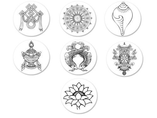 Lot Magnet Aimant Ø38mm Symbole Bouddha Buddha Bouddhisme Buddhism Buddhist