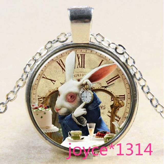 Alice in Wonderland Rabbit Tibetan silver Glass Chain Pendant Necklace #612