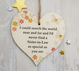Sister In Law Thank You Gift Heart Plaque Bibi /& Me Collection