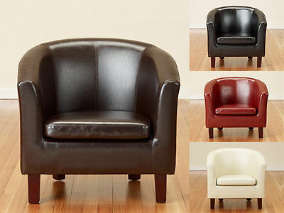 Modern Bonded Leather Tub Chair Armchair for Dining Living Room Office Reception