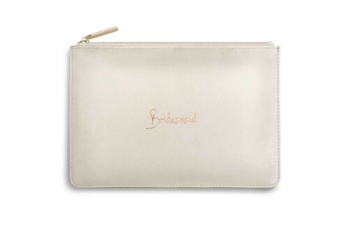 Katie Loxton BRIDESMAID Perfect Pouch Clutch Bag Gift Bag Pearliised White