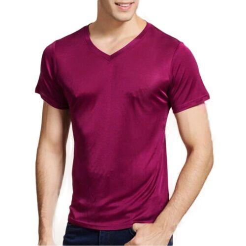 Mens Silk Knitted T-shirt Casual Short Sleeve Undershirt Summer Shirts Soft Top