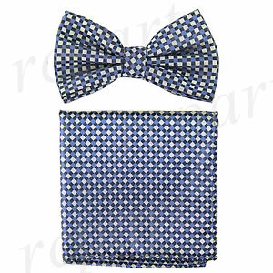 New Men's poly woven Pre-tied Bow tie & hankie blue plaids & checkers formal
