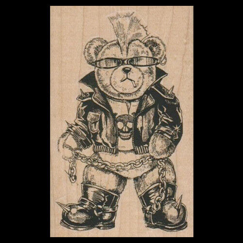 BIKER BEAR Rubber Stamp MOTORCYCLE BEAR Wearing Leathers and a Skull T Shirt New