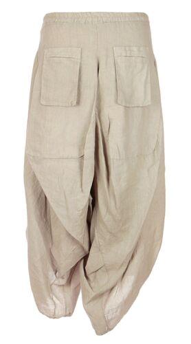 Ladies Womens Italian Lagenlook 2 Slit Linen Boho Harem Parachute Tulip Trousers