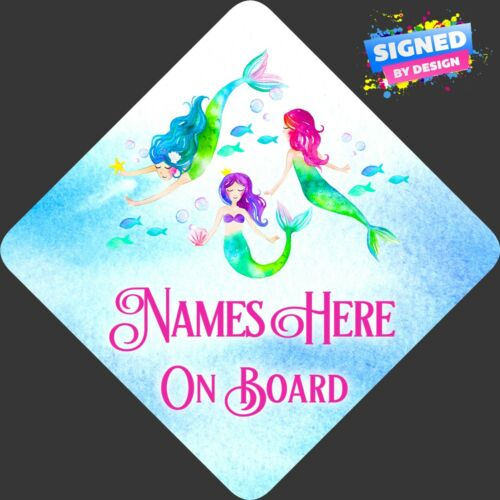 Personalised Mermaids Baby Child//Baby on Board Car Sign New ~ Bright Watercolour
