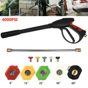 High-Pressure Car Power Washer 4000PSI Spray Gun Wand Lance Nozzle Tip Hose Kits