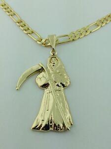 Grim reaper pendant gold plated with necklace dije de la santa image is loading grim reaper pendant gold plated with necklace dije mozeypictures Image collections