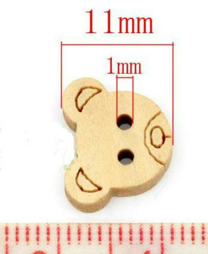 10 Teddy Knöpfe Bär 13 mm x 11 mm Holzknöpfe Knopf 2 Löcher Nähen Kurzwaren #