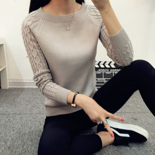 New Autumn Knitted Womens Sweater Pullover Long Sleeve Ladies Jumper for Winter