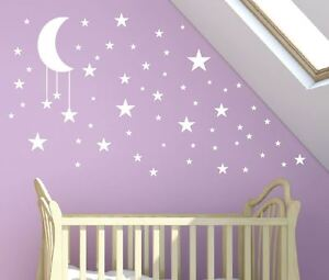 Image Is Loading P Large 30cm Moon 50 Stars Wall Stickers