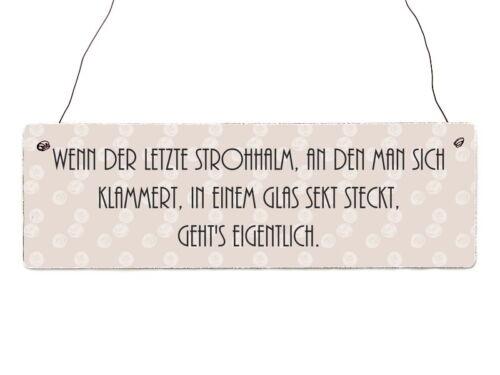 Holzschild Shabby WENN DER LETZTE STROHHALM SEKT Türschild Spruch Vintage