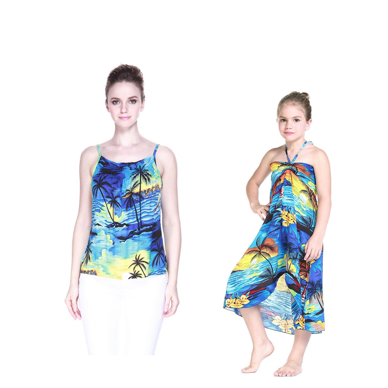 Mother Daughter Matching Luau Cruise Dress Hawaiian Elastic Tank Top Sunset Blue