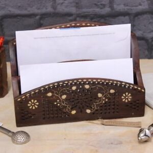 Madira Box Fur Briefe Regal Mit Messing Inlay Sheesham 2 Facher
