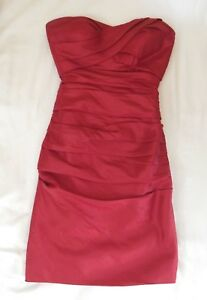 womens-cranberry-BILL-LEVKOFF-dress-bridal-bridesmaid-strapless-knee-length-S-4