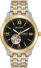 Bulova Men's Automatic Open Heart Black Dial Two Tone Watch