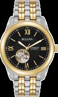 Bulova Men's Automatic Open Heart Black Dial Two Tone Watch