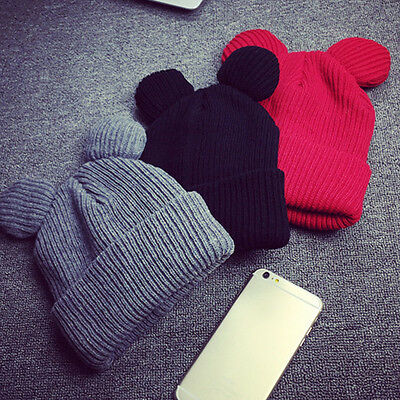 Winter Thick Knitted Wool Hat With Two Cat Ears Women Beanie Warm&Soft Cap Hotly