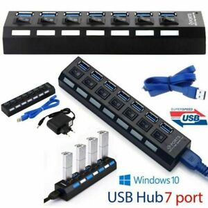 Multiprise-Cable-USB-3-0-HUB-7-Ports-Auto-Commutateurs-pr-Pc-Mac-Linux-on-off