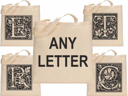 Personalised Fancy Initial 5 Canvas Tote Bag Cotton Custom Printed Shopper Bag