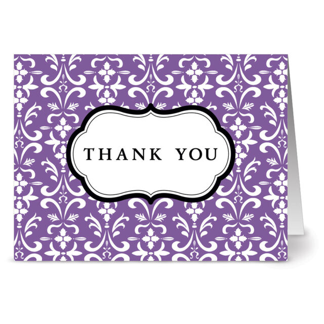 Gray Envs Damask Gray 24 Thank You Note Cards