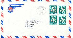 AU-NEW-ZEALAND-1965-Flowers-Pikiarero-6D-4x-rare-multiple-postage-airmail-cvr