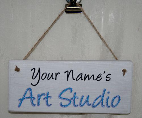 Personalised Name Art Studio House Door Sign Plaque Rustic Wood Gift Chic Den