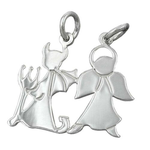 Damen 925 Silber Doppelanhänger mit 2 Ösen Anhänger Engel und Teufel