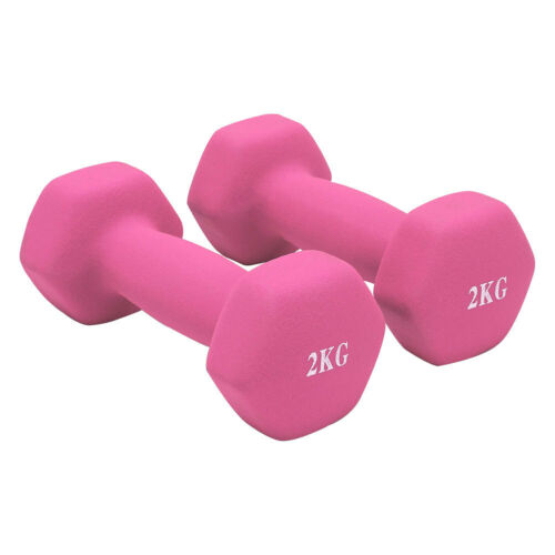 Hex Cast Iron Neoprene Dumbbell Set Fitness Yoga Ladies Home Gym Workout Aerobic