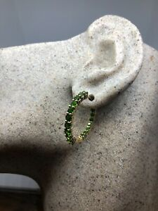 Vintage-Green-Hoop-Earrings-Genuine-Chrome-Diopside-Golden-925-Sterling-Silver