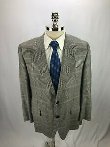Hickey-Freeman-Men-039-s-Gray-Houndstooth-Wool-Blazer-42S