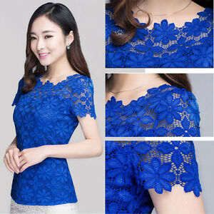 NEW Korean Fashion Lace LADY Shirts Short Sleeve Womens Tops ...