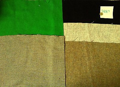 D887 upholstery fabric remnants, 45% WOOL 5 pieces  Brompton Tweed