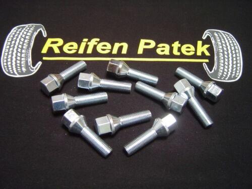 10x bulloni ruota bulloni della ruota per passaruota cono m12x1,5x37 BMW MERCEDES