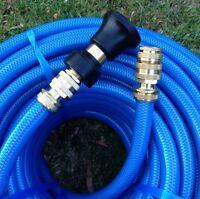 100m Garden 3/4 Water Hose 18mm Brass Fittings & Fire Nozzle 8/10 Kink-free