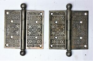 """Pair Ornate Antique Eastlake Victorian Cannon Ball Pin Door Hinges 4.5"""" x 4.5"""""""