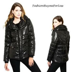 Shiny-Black-Outerwear-Haute-Wide-Collar-Zip-Quilted-Puffy-Puffer-Jacket-Coat-NEW