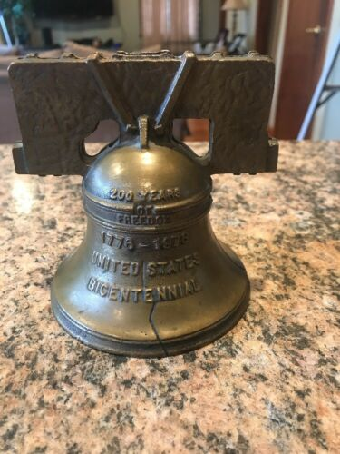 "1976 Liberty Bell Coin Bank US Bicentennial High Quality Cast Brass 4.5"" Tall"