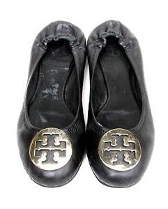 Tory Burch Reva schwarz Leder Gold Logo Toe Ballet Schuhes Flats Schuhes Ballet SZ 8M 326404