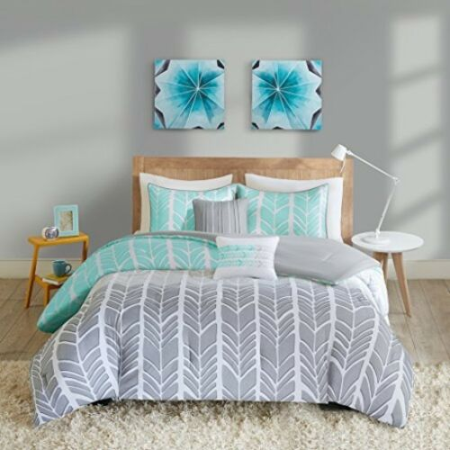 Cute Twin Comforter Set XL Size Dorm Room Bed Bedding for Girls Women Blue Grey